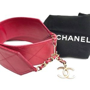 Authentic CHANEL Quilted Leather Medallion Belt